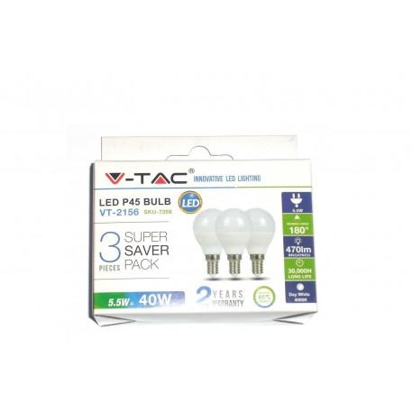 LAMPADINE LED E14 5,5W MNIGLOBO 3PEZZI LUCE BIANCO NATURALE 4000K VTA7358