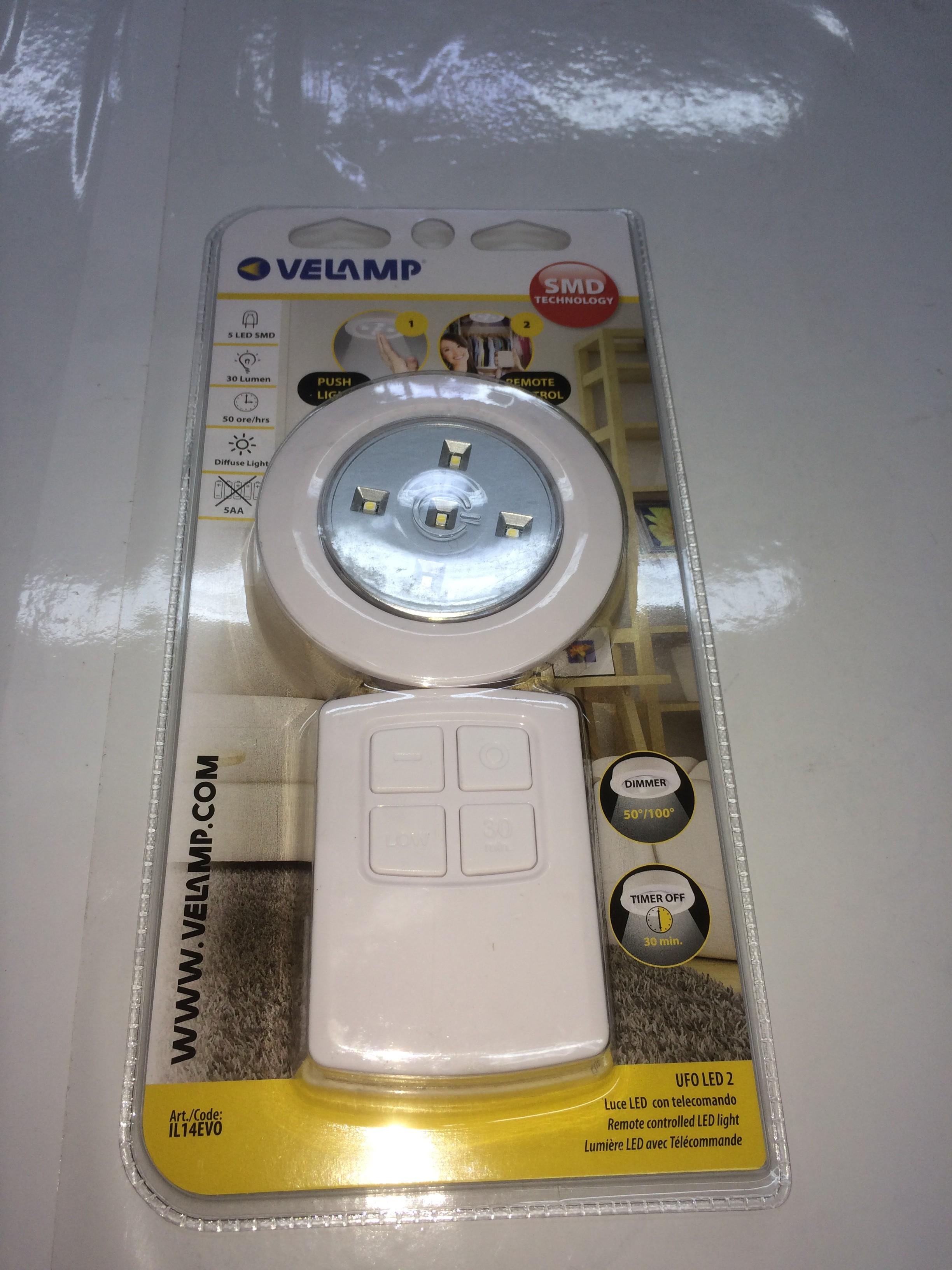 Accensione Lampadario Con Telecomando punto luce 5 led a batteria con telecomando il14evo velamp 5392168