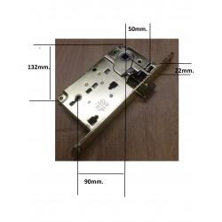 serratura AGB porta infilare centro 50mm. f.22 solo scrocco oro.lu AGBB010095003